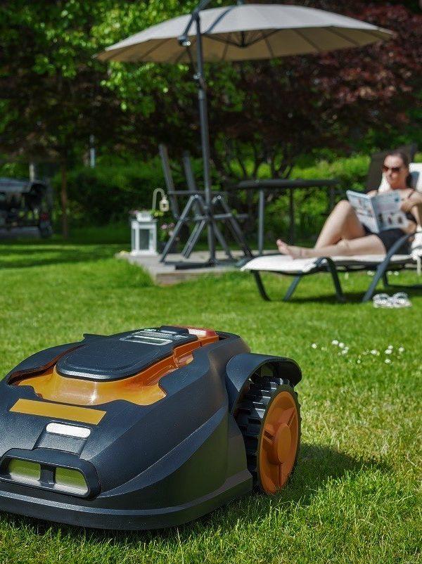 Automatic lawnmower in modern garden