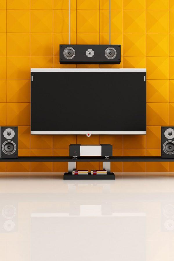 black and orange home theater